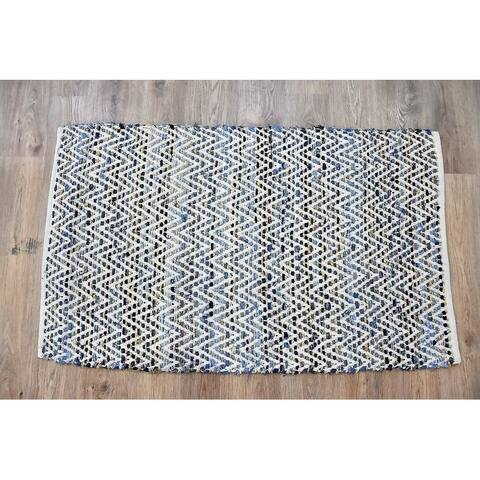 Handmade Denim Natural Cotton and Hemp Rug (India) - 5'X8'