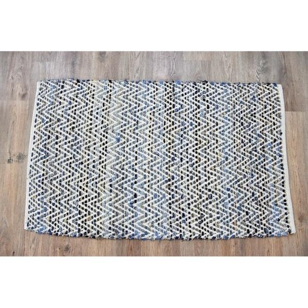 Handmade Denim Natural Cotton and Hemp Rug (India) - 5'X8'