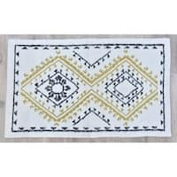 Timbergirl Yellow Black Wool and Silk Handmade Rug - 3'x5'