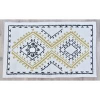 Timbergirl Yellow Black Wool and Silk Handmade Rug - 5'X8'