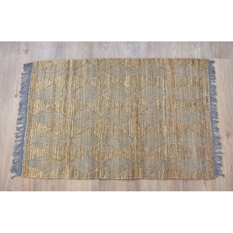 Handmade Natural Grey Jute and Cotton Rug (India) - 3'x5'