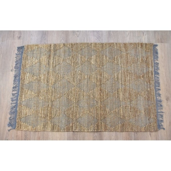 Timbergirl Natural Grey Jute and Cotton Handmade Rug - 3'x5'