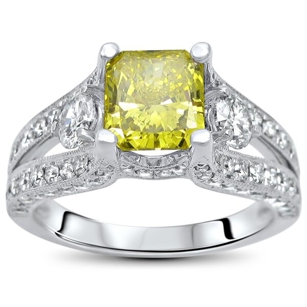 72a89b47dd Noori 2 ct Canary Yellow Radiant Cut Diamond Engagement Ring 18k White Gold