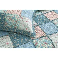 Cozy Line Aphrodite Patchwork 3 Piece Reversible Cotton Quilt Set
