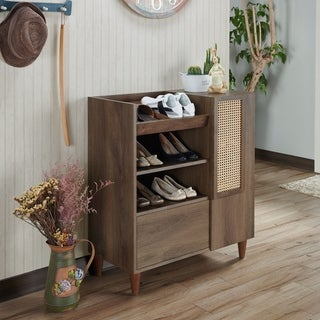 Carson Carrington Getaria Traditional Distressed Walnut Shoe Cabinet