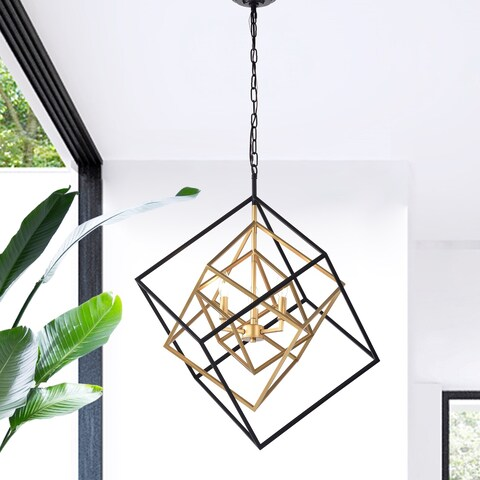 Triplix 3-light Geometric Gold and Black Chandelier