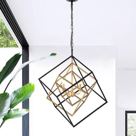Triplix 3-light Goldtone/Matte Black Nested Cube Chandelier