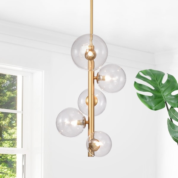 Shop Newill 5 Light Vertical Chandelier With Variable Glass Globes Bulbs Included Free Shipping Today Overstock 25446857