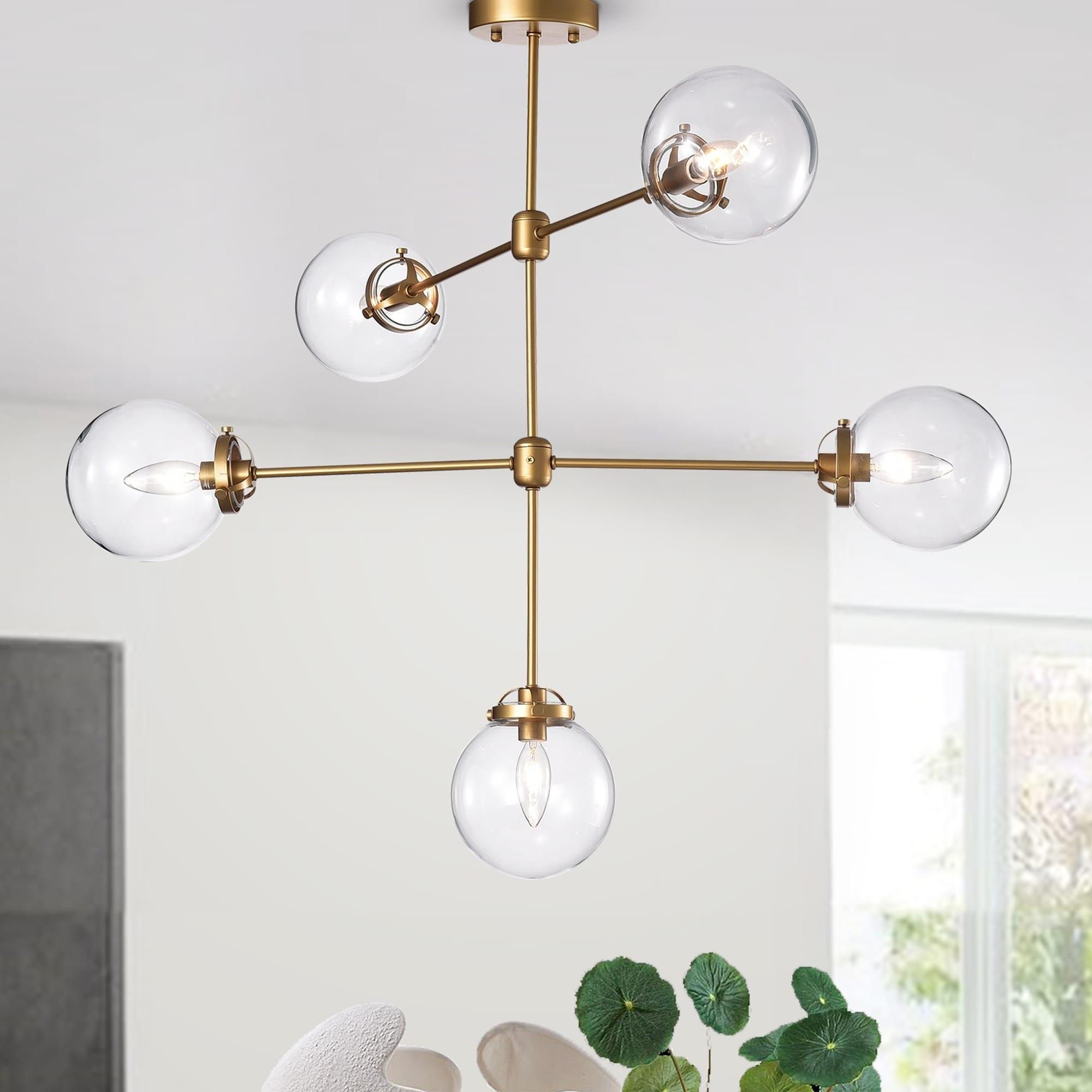 Sarret 5 Light Gold Contemporary Chandelier