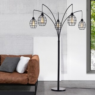 Arbolumen Matte Black Caged 5-lantern Floor Tree Lamp (includes Edison Bulbs)