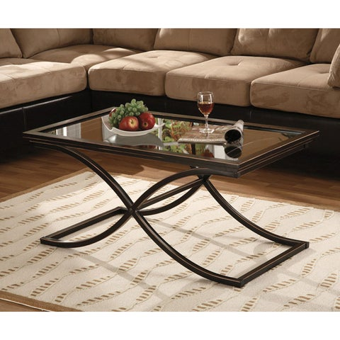 Clay Alder Home Sorlie Black/Copper Distressed Metal and Tempered Glass Glam Cocktail Table