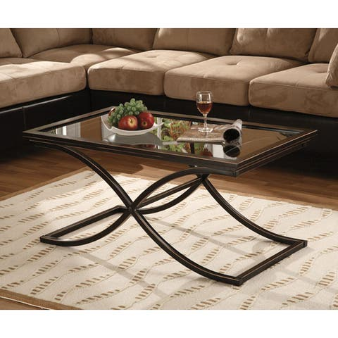 Copper Grove Bugleweed Black/Copper Distressed Metal and Tempered Glass Glam Cocktail Table