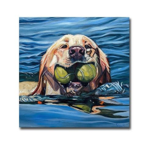 Fetch by Kathryn Wronski Gallery Wrapped Canvas Giclee Art (18 in x 18 in, Ready to Hang)