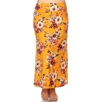 Women's Casual Lightweight Plus Size Elastic Pattern Maxi Skirt