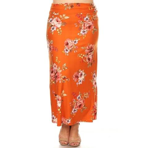 Women's Casual Lightweight Plus Size Elastic Pattern Maxi Skirt
