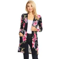 Women's Casual Lightweight Print Long Body Duster Cardigan Sweater