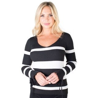 Striped Sweater Top with Bell Sleeves