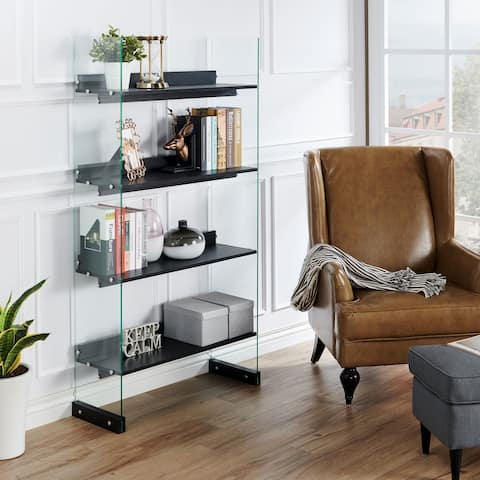 Samsel Modern Black 4-tier Glass Frame Bookcase by FOA