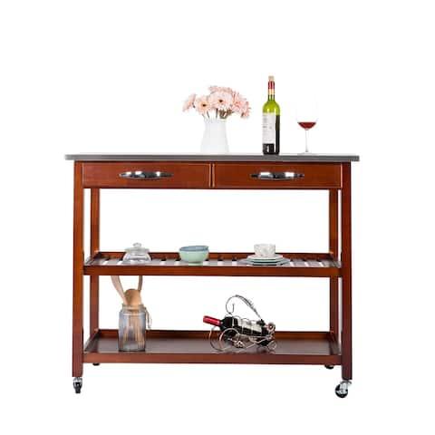 Kinbor 3-Tier Wood Rolling Kitchen Island Utility Kitchen Serving Cart Storage Cabinet w/Stainless Steel Countertop
