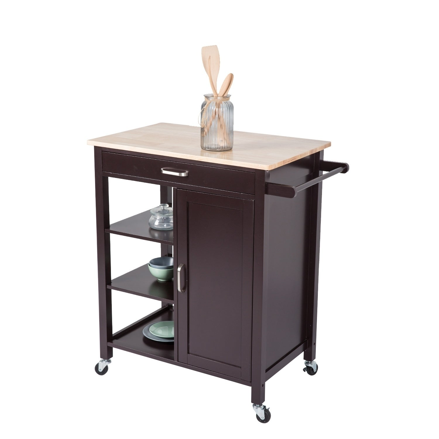Kinbor Rolling Kitchen Island Utility Kitchen Serving Cart Storage Cabinet Trolley Cart With Wheels
