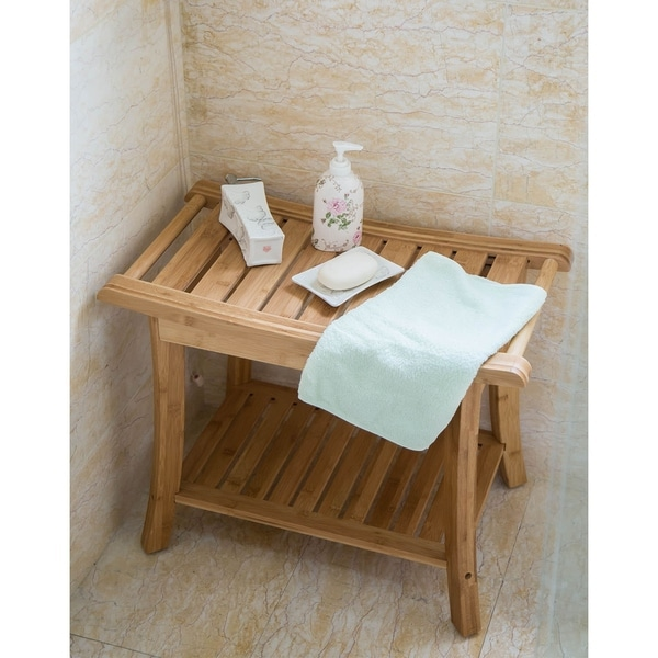 Kinbor Bamboo Shower Bench Stool Spa Bath Seat Chair w/ Storage Shelf