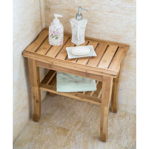 Kinbor Bamboo Shower Seat Bench Spa Bath Stool Chair w/ Storage Shelf - Wood