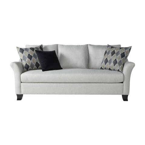 Somette Traditional Sofa with Modern English Arms in Silver