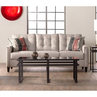 Somette Traditional Sofa with Tufted Back in Beige