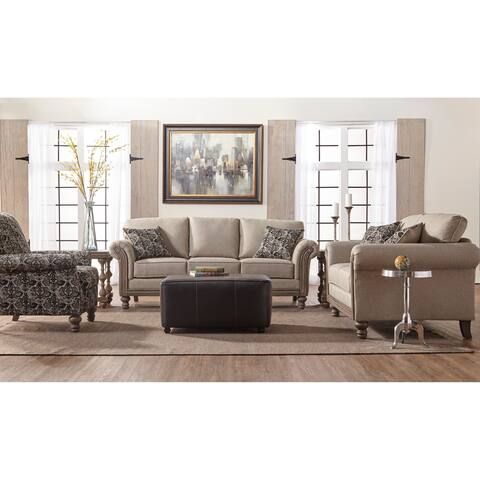 Somette Traditional Beige Upholstery Rolled Panel Arm Sofa