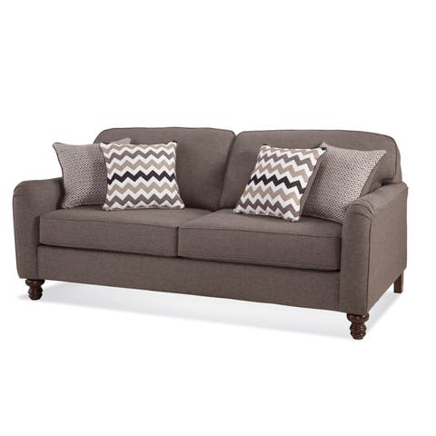 Somette Traditional Sofa with Track Arms in Gray
