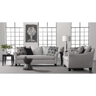 Somette Traditional Sofa and Loveseat with Modern English Arms in Silver