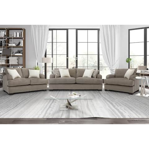 Somette Scooped Arm Sofa and Loveseat in Gray
