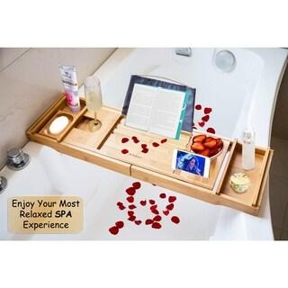 Kinbor Bathtub Caddy Bath Tray w/ Extending Sides Wine Glass Holder Wood Rack