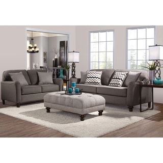 Somette Traditional Sofa and Loveseat with Track Arms in Gray