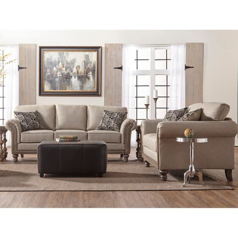Somette Traditional Rolled Panel Arm Sofa and Loveseat in Beige