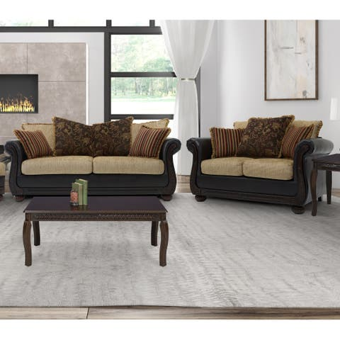 Somette Ruched Arm Sofa and Loveseat in Brown