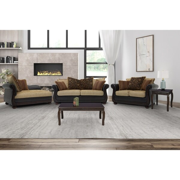 Somette Ruched Arm Sofa, Loveseat and Chaise in Brown