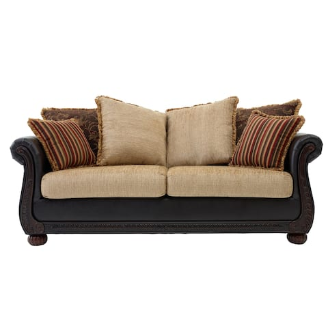 Somette Ruched Arm Sofa in Brown