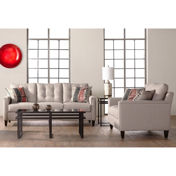 Somette Traditional Sofa and Loveseat with Tufted Back in Beige