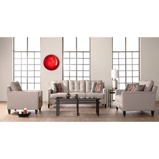 Somette Traditional Sofa, Loveseat and Chair with Tufted Back in Beige
