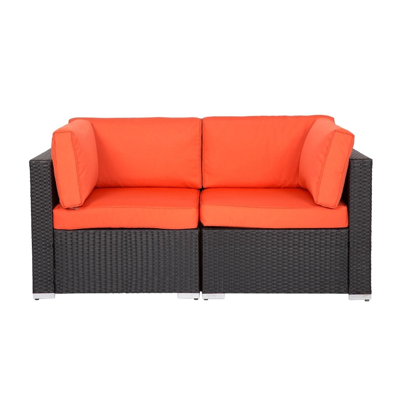 Kinbor 2-piece Outdoor Furniture Patio Love Seat All-Weather Sectional  Wicker Corner Sofa