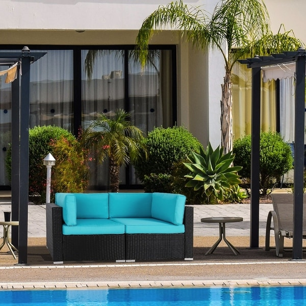 Outdoor Wicker Sectional Sofa For Sale: Shop Kinbor 2 PCs Outdoor Patio Furniture Sectional Pe