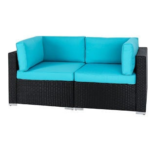 Kinbor 2-piece Outdoor Furniture Patio Love Seat All-Weather Sectional Wicker Corner Sofa