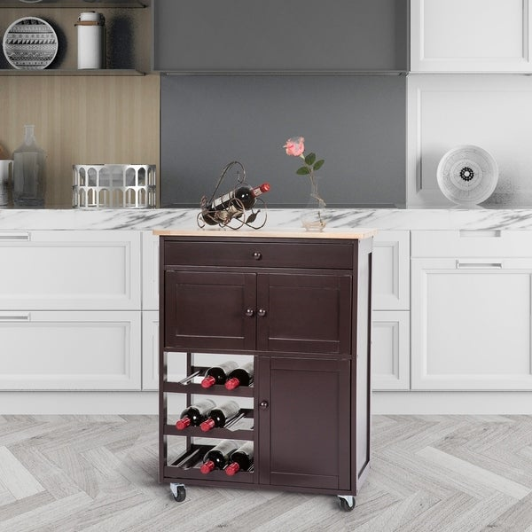 Kitchen Cabinets On Wheels: Shop Kinbor Wood Rolling Kitchen Island Trolley Cart