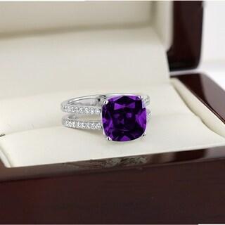 Auriya Modern 3ct Cushion Cut Purple Amethyst And Diamond Engagement Ring 1 4cttw 14k Gold