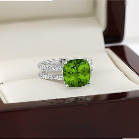 Auriya 5ct Fancy Cushion Cut Peridot and 1/4ctw Diamond Engagement Ring 14kt Gold