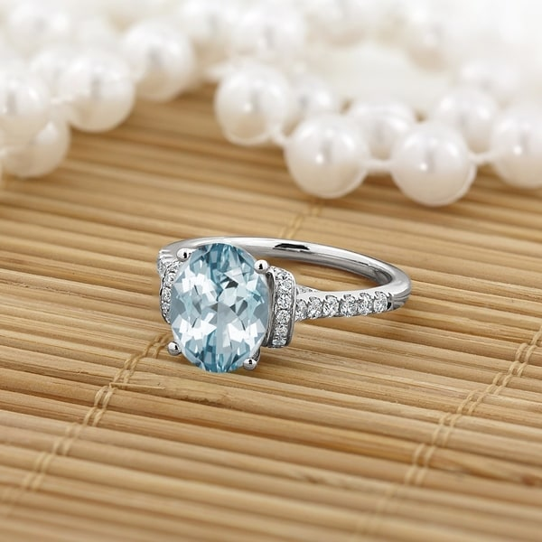 Shop Auriya Modern 1 3/8ct Oval Aquamarine And Diamond