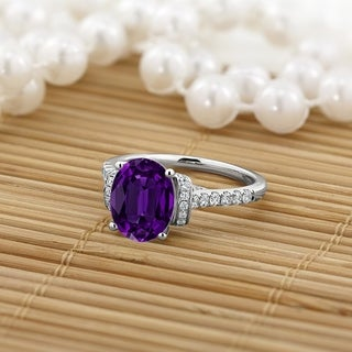 14K Gold 1 3/8ct Fancy Oval Purple Amethyst and 3/8ct TDW Diamond Engagement Ring by Auriya