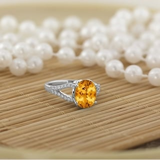 Auriya 3 1 3ct Fancy Oval Citrine And Diamond Engagement Ring 1 3cttw 14k Gold