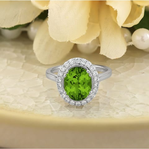 Auriya 2 5/8ct Fancy Oval Cut Peridot and 1/3ctw Halo Diamond Engagement Ring 14kt Gold